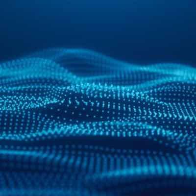 blue digital wave patterns resembling hills